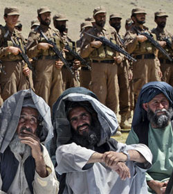 Afghan local police with villagers