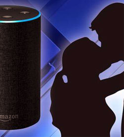 Couple kissing next to Amazon Echo device
