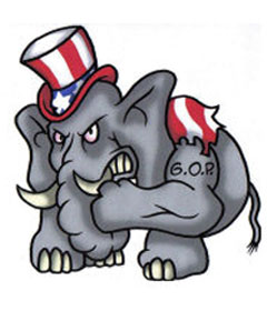 Angry Republican elephant cartoon