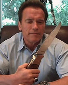 Gov. Arnold Schwarzenegger (R-CA) in his Twitter video discussing state's budget crisis