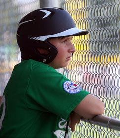 Dejected young baseball player