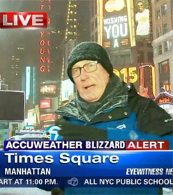TV reporter in Times Square