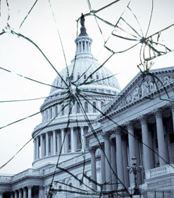 Capitol dome through shattered glass