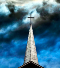Cross against a stormy sky