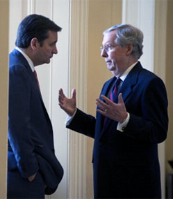 Mitch McConnell talking to Ted Cruz