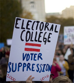 Electoral College = Voter Suppression protest sign