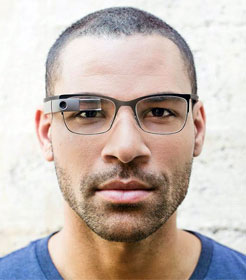 Man wearing Google Glass eyewear