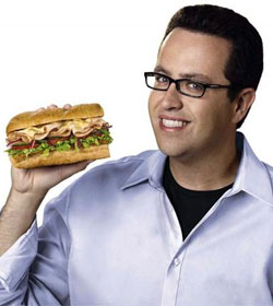 Jared Fogle holding Subway sandwich