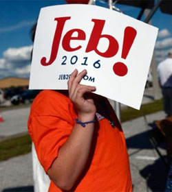 Bush supporter with Jeb! sign
