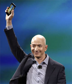 Jeff Bezos holding new Amazon Fire phone