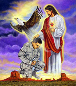 Painting of Jesus blessing soldier