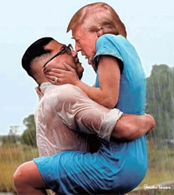 Kim Jong Un and Donald Trump embracing