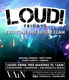 """Loud Fridays"" club poster"