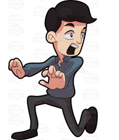 Cartoon  of terrified man running away