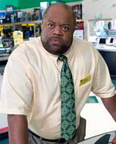 "Mark Christopher Lawrence as irate sales clerk in NBC TV show ""Chuck"""