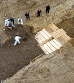 Mass burial pit for COVID-19 victims, Hart Island, New York City