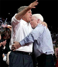 McCain hugs Bush