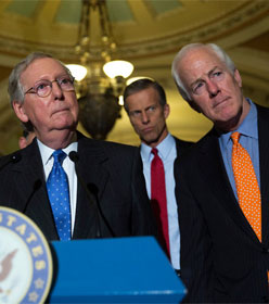 Mitch McConnell, John Thune and John Cornyn