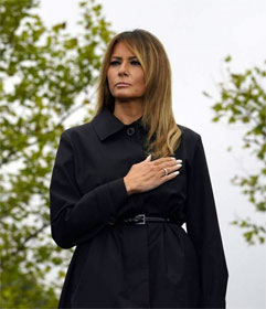 Melania Trump with hand over heart