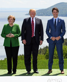 Angela Merkel, Donald Trump and Justin Trudeau