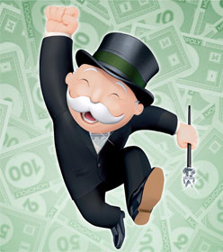 Monopoly man surrounded by cash