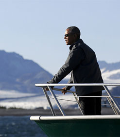 Pres. Obama viewing glacier in Alaska