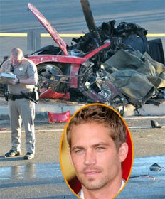 Paul Walker, R.I.P. (inset) with wrecked Porsche Carerra GT