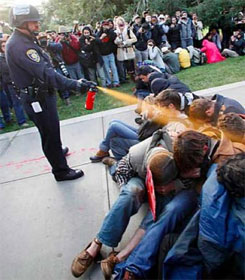 Nonviolent protestors pepper sprayed at UC Davis CA