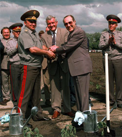 Russian & Ukrainian Ministers of Defense with U.S. Defense Sec'y William Perry, 1996