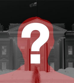 Question mark superimposed on a silhouette of a man in front of the White House