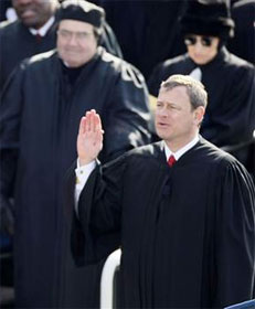 Chief Justice Roberts, shown flubbing Pres. Obama's oath of office, led the Supreme Court's 5-4 ruling that corporations can spend whatever they want on elections
