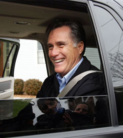 Mitt Romney in car