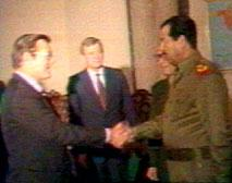Photo Rumsfeld and Saddam Hussein 1983