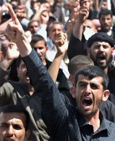 Angry crowd in Mideast