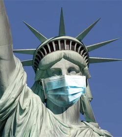 Statue of Liberty wearing mask