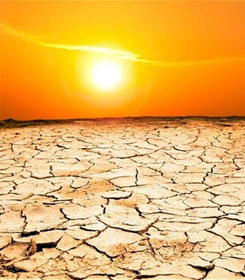 Sun over parched land