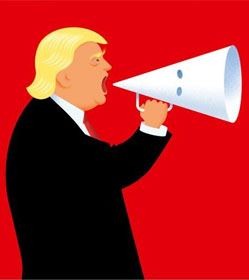 Donald Trump using KKK hood as megaphone--The Economist cover illustration