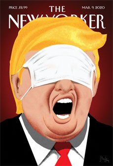 "Brian Stauffer's ""Under Control,"" New Yorker cover showing Donald Trump with a surgical mask covering his eyes"