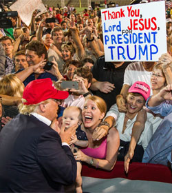 Trump and enraptured supporters