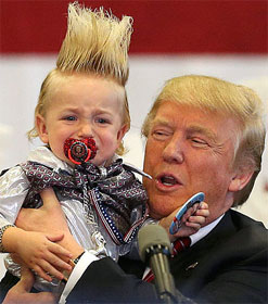 Donald Trump holding baby