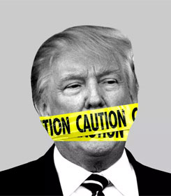 Donald Trump with mouth covered by caution tape