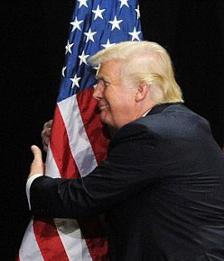 Donald Trump hugging flag