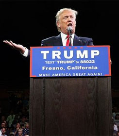 Donald Trump addressing Fresno, CA rally