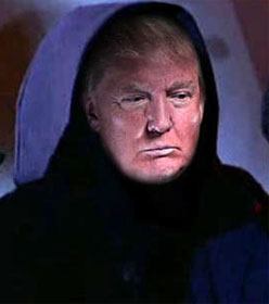 Trump in hooded cowl
