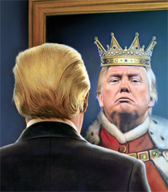Donald Trump seeing himself as king in mirror