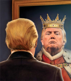 Donald Trump looking in the mirror and seeing a king