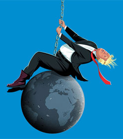 Donald Trump on a wrecking ball, by Ben Kirchner
