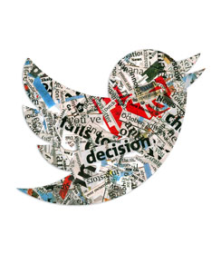 Twitter logo bird covered in newsprint
