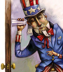 Uncle Sam eavesdropping