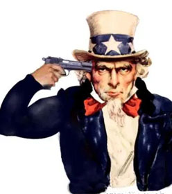 Uncle Sam pointing a gun at his head
